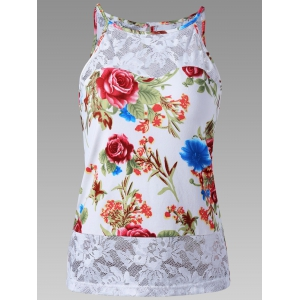 Sheer Lace Trim Floral Tank Top