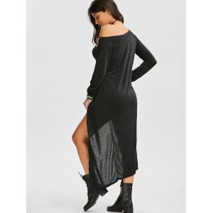 Long Sleeve Off The Shoulder High Low Maxi T-shirt Dress - BLACK M