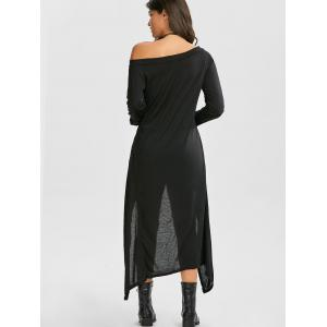 Long Sleeve Off The Shoulder High Low Maxi T-shirt Dress -