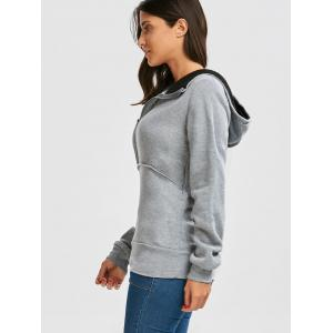 Flocking Front Zip Hoodie - GRAY M