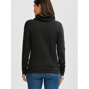 Buttoned Turtleneck Sweatshirt - BLACK S