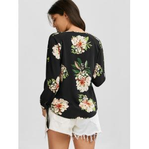 Plunging Neck Floral Print Criss Cross Blouse - BLACK M