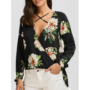 Plunging Neck Floral Print Criss Cross Blouse