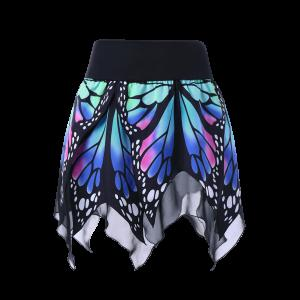 High Waist Butterfly Print Handkerchief Skirt - Blue - 2xl