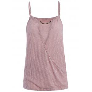 Caged Surplice Knit Tank Top