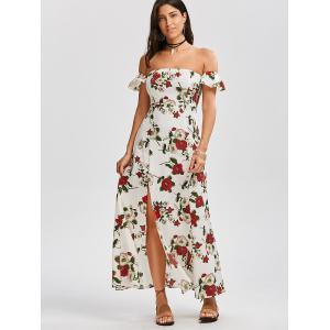 High Split Floral Off The Shoulder Maxi Dress - WHITE L