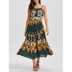 Braided Strap Casual Printed Boho Swing Dress
