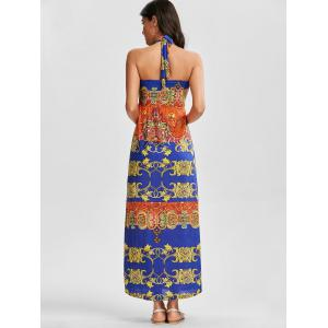 Aztec Print Halter Boho Maxi Robe Backless - Multicolore TAILLE MOYENNE