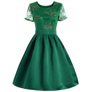 Retro Style Cut Out Floral Embroidered Dress