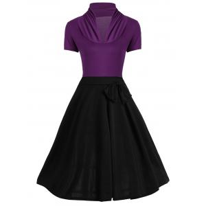 Vintage Ruched Bowknot Design Two Tone Dress