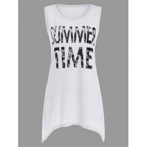 Asymmetrical Graphic Tunic Tank Top