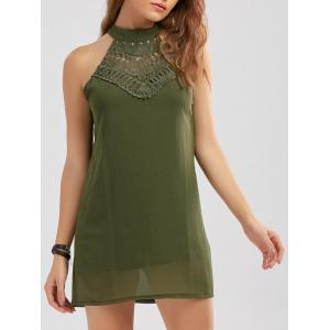 Crochet Lace Panel Cut Out Sleeveless Dress - Army Green - M
