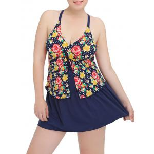 Plus Size Plunge Floral Printed Modest One Piece Swimsuit
