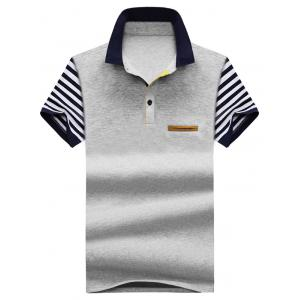 Striped Faux Pocket Polo Shirt