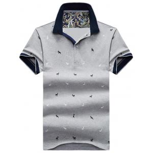 Contrast Trim Animal Print Polo Shirt