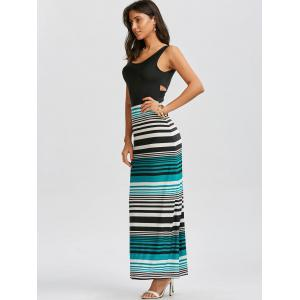 Maxi Striped Criss Cross Cut Out Long Bodycon Dress - BLACK L