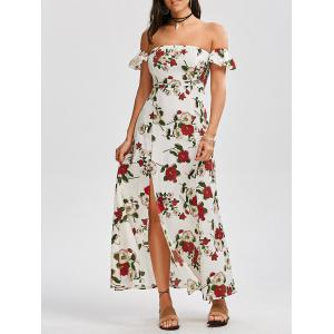 High Split Floral Off The Shoulder Maxi Dress - White - S