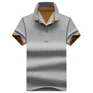 Two Tone Half Buttoned Polos - Coffee And Grey - Xl