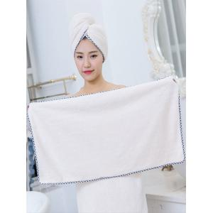 Pineapple Grid 3PCS Coral Fleece Soft Bath Towel Set - CRYSTAL CREAM