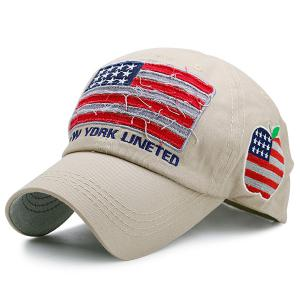 Letters Embroidered US Flag Patchwork Baseball Hat - Khaki - One Size
