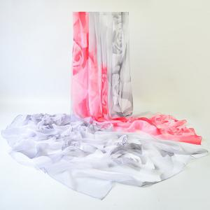 Rose Pattern Two Tone Gossamer Shawl Wrap Scarf
