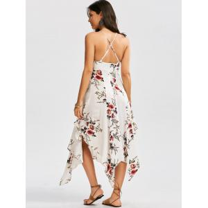 Floral Print Asymmetrical Criss Cross Dress - WHITE XL