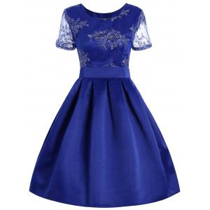 Retro Style Cut Out Floral Embroidered Dress - Blue - Xl