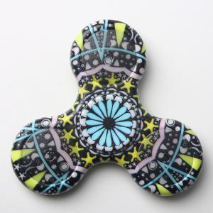 Mandala Patterned Plastic Finger Fidget Spinner avec LED Lights - Noir