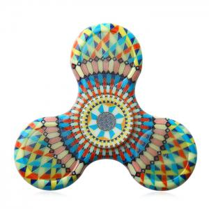 Mandala Patterned Plastic Finger Fidget Spinner with LED Lights - YELLOW