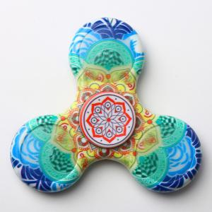 Mandala Patterned Plastic Finger Fidget Spinner with LED Lights - BLUE