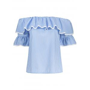 Flare Sleeve Off The Shoulder Top - Blue - S