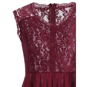 Maxi Lace Top Sleeveless Prom Formal Dress - DEEP RED XL
