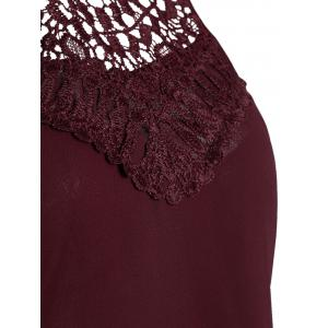 Crochet Lace Panel Cut Out Sleeveless Dress - Rouge vineux  S