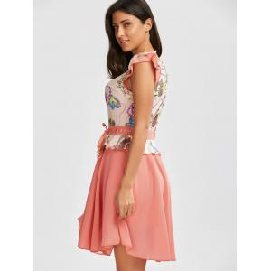 Printed Ruffle Chiffon Dress - PINK XL