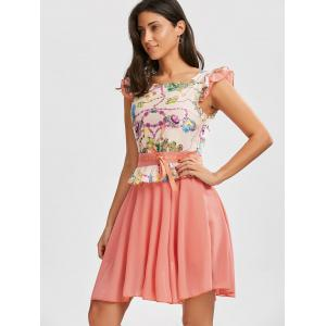 Printed Ruffle Chiffon Dress - PINK L