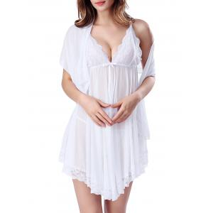Lace Panel Mesh Sheer Slip Intimate Dress