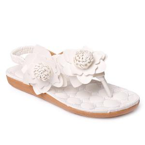 Elastic Band Flowers Faux Leather Sandals - White - 37