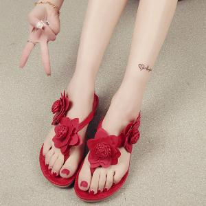 Elastic Band Flowers Faux Leather Sandals -