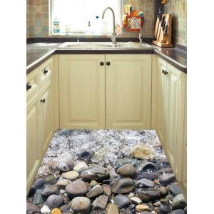 Removable 3D Stone Stream Vinyl Floor Sticker -