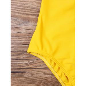 High Cut V Neck One Piece Swimsuit - YELLOW M