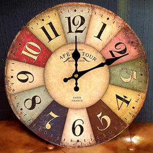Europe Vintage Round Wood Mute Analog Wall Clock - COLORMIX 50*50CM