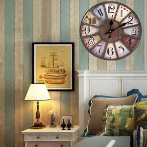Western Vintage Mute Wood Analog Wall Clock - Brun 50*50cm