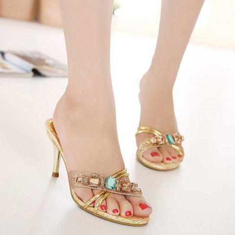 Chic Rhinestone Jacquard Insole Heeled Slippers GOLDEN 39