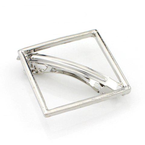 Affordable Chic Solid Color Hollow Out Square Hairpin For Women SILVER