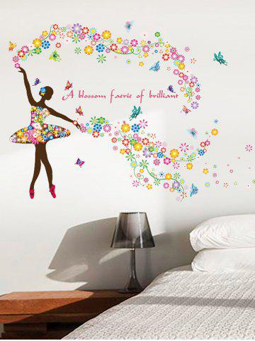Buy Dancing Girl Quotes Floral Butterfly Wall Sticker - 60*90CM COLORFUL Mobile