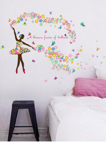 Unique Dancing Girl Quotes Floral Butterfly Wall Sticker - 60*90CM COLORFUL Mobile