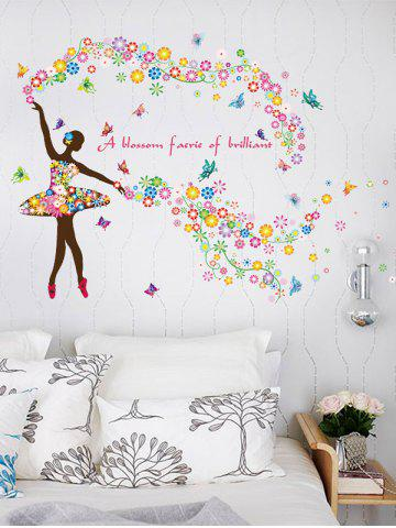 Trendy Dancing Girl Quotes Floral Butterfly Wall Sticker COLORFUL 60*90CM