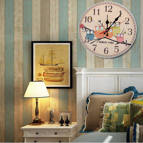 Cheap Owl Round Wood Analog Number Mute Wall Clock - APRICOT  Mobile