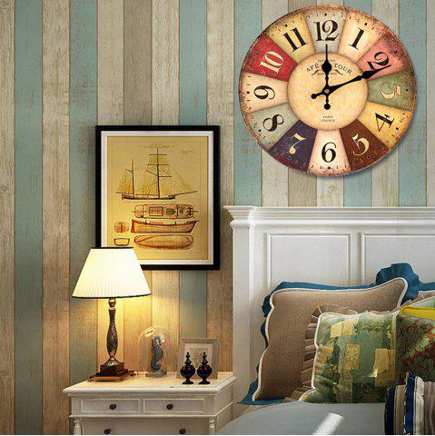 Store Europe Vintage Round Wood Mute Analog Wall Clock - COLORMIX  Mobile