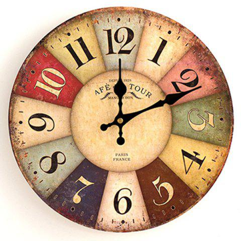 Cheap Europe Vintage Round Wood Mute Analog Wall Clock COLORMIX 30*30CM